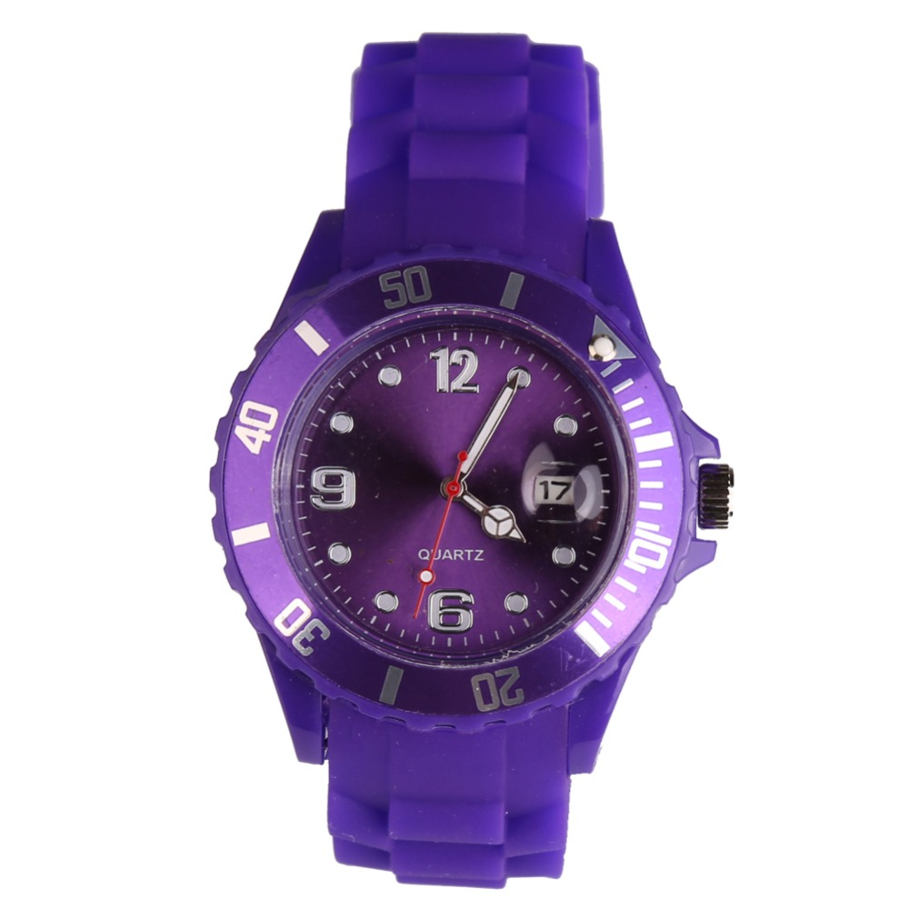 New Fashion Unisex Women Wristwatch Quartz Watch Sports Casual Silicone Reloj Gifts Relogio Feminino Clock Digital Watch Purple geneva casual watch women dress watch 2017 quartz military men silicone watches unisex wristwatch sports watch relogio feminino