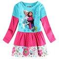 Moda anna elsa vestidos para meninas do bebê crianças Roupas princesa crianças cotton dot flores festa de aniversário tutu manga longa