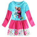 fashion anna elsa dresses for baby girls children Clothes princess kids cotton dot flowers party tutu birthday long sleeve