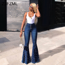 Sparkly Rhinestones Sexy Denim Trouser Women High Waist Bodycon Bell-Bottomed Pants Streetwear Ladies Buttons Up Long Flare Jean