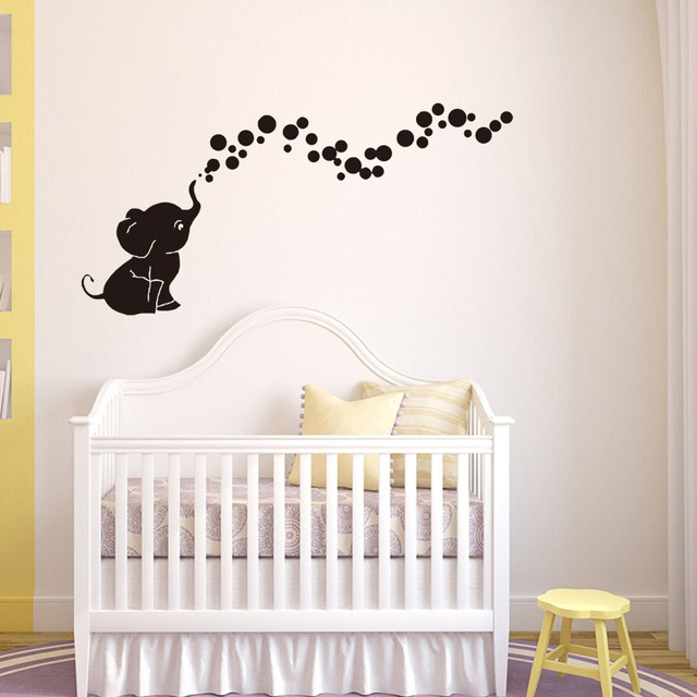 lovely small elephant blowing bubble wall sticker self adhesive pvc