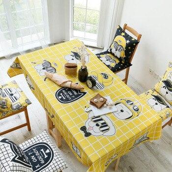 Table De Cuisine à La Main | Simple Jaune Noir Dessin Animé Peint à La Main Tendance Table Basse Nappe Tissu Cuisine Nappe Coton 5