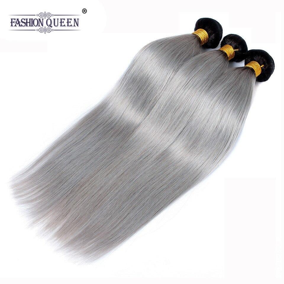 Модные queen hair 1B/серый прямые волосы натуральные волосы 3 Связки Ombre бразильский натуральные волосы Weave серый Ombre пряди человеческих волос для