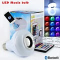12W E27 RGB LED Music bulb Wireless bluetooth LED speaker bulb Audio Speaker music playing & Lighting With 24 Keys IR Control