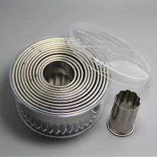 High Quality 12pcs Larger Round Shape Cookie Cutter Molds set with fluted edge