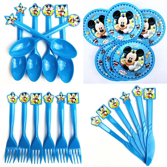 Classic Mickey Mouse Plates Spoon Knives Forks Decorations 1st Kids ...