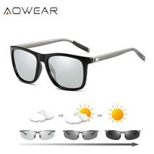 AOWEAR זיקית משקפיים מרובעים נשים מקוטבות HD Photochromic משקפי שמש לנהיגה משקפי וינטג משקפי שמש לגברים נשים