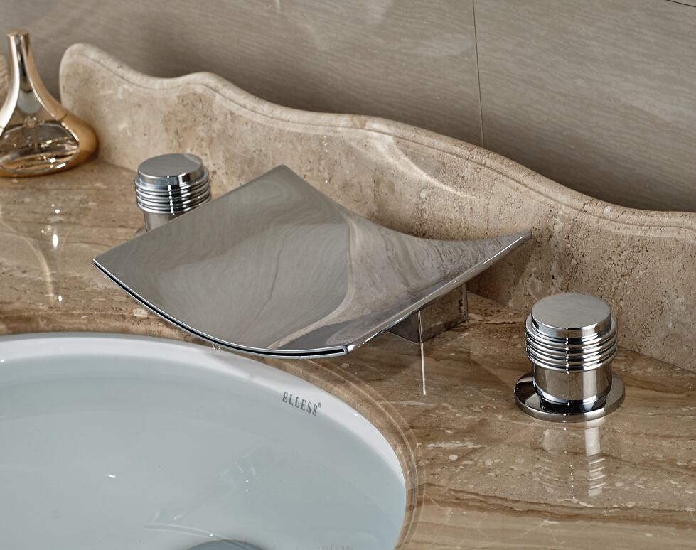 7 Faucet Finishes For Fabulous Bathrooms: Double Knobs Bathroom Sink Faucet Widespread 3pcs Basin