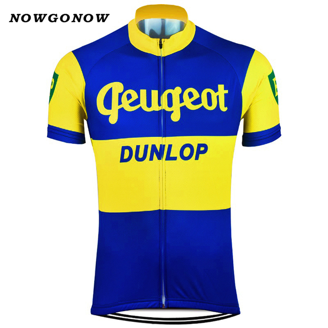 NOWGONOW 2017 Cycling Jersey men yellow blue vintage pro team Clothing Bike  Wear MTB road tops Maillot 3 style summer nostalgic 05b7dc257