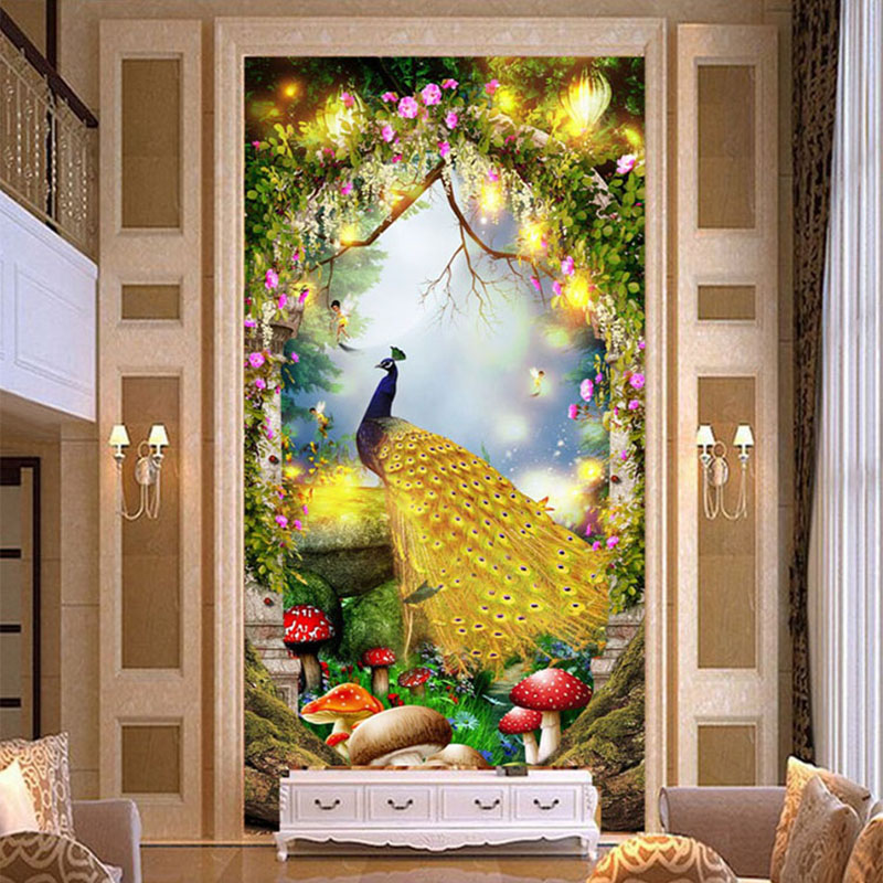 High Quality European Style Golden Peacock 3D Mural Fairy Tale Forest Photo Wallpaper Hotel Living Room Entrance Luxury Frescoes