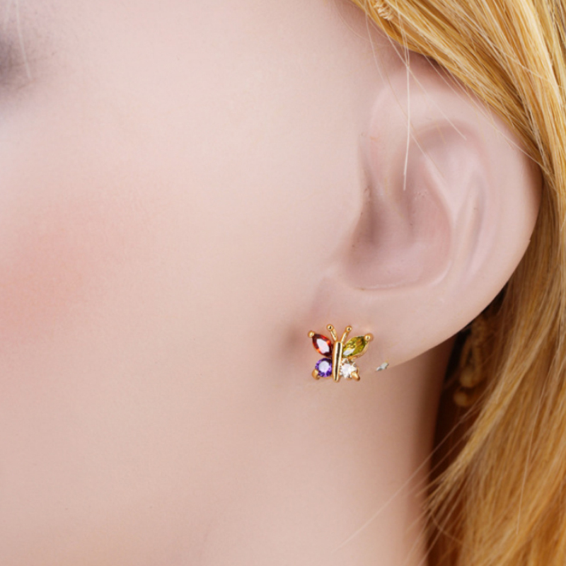 Kids Jewelry Yellow Gold Color Multicolor Zircon CZ Cute Butterfly Animal Piercing Stud Earrings for Children