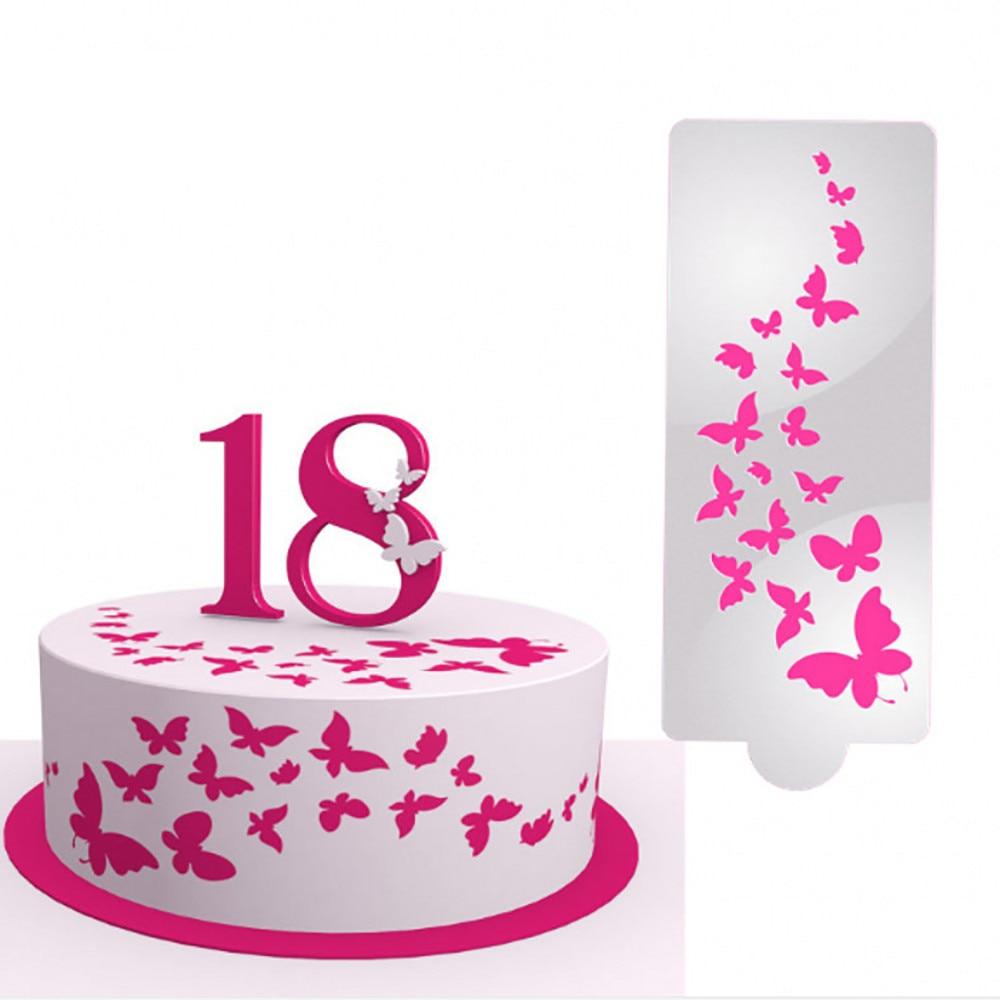 Phenomenal Cake Mould 1Pcs Diy Birthday Cake Butterfly Hot Pink Pattern Funny Birthday Cards Online Overcheapnameinfo