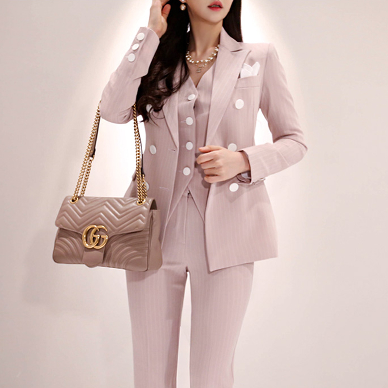 Fashion Style Business Striped Vest Suit for Office Lady 3 Piece Womens Formal Wear Pantsuits Party