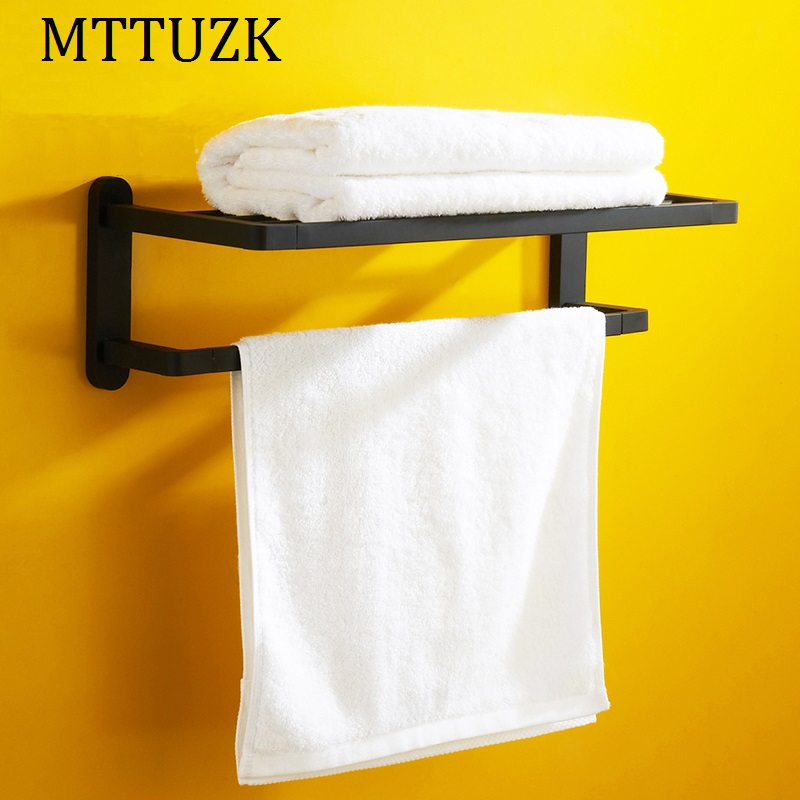 MTTUZK Black square high grade bathroom towel rack wall mounted bathroom Double layer Shelf toalheiro free shipping