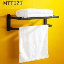 Mttuzk черный квадрат высокого класса ванной вешалка для полотенец настенные ванная комната двойной слой полка toalheiro free доставка