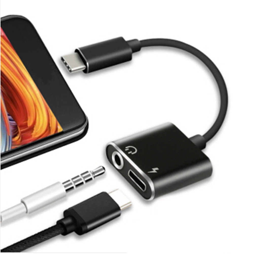 2 In 1 Type-C To 3.5mm Headphone Adapter Cable Audio Cable For Charging Listening Music Calling For Xiaomi Samsung Galaxy C9 Pro