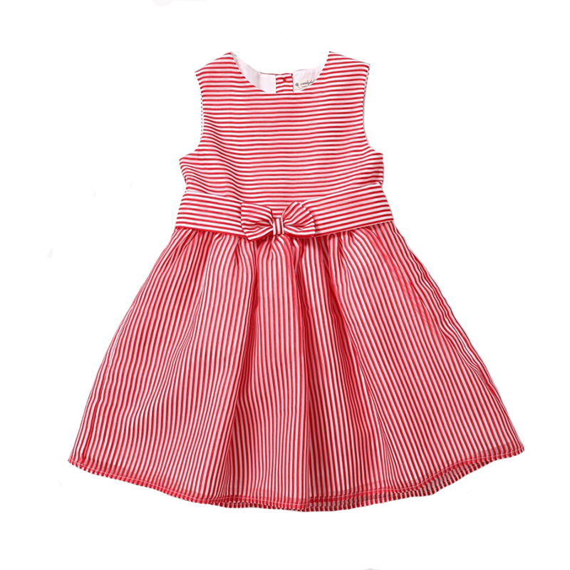 CANDYDOLL Summer Girls Dress Baby Princess Dresses Striped Bow Sleeveless Mesh Costume for Children Party Clothing for 3y-8y sleeveless children baby girls kids clothing summer princess party flower bow gown full dresses 2 4 6 7 8 9 10 years