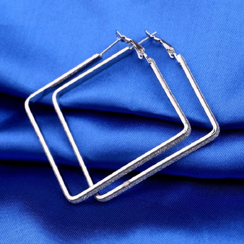 New Fashion Jewelry Matte Silver Plated Flower Shaped Square Large Hoop Earrings For Women Circle Earings Hoops Eh28 In From