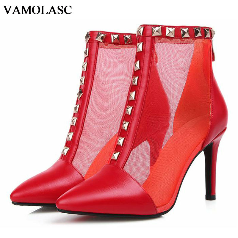 VAMOLASC New Women Summer Leather Ankle Boots Sexy Rivets Zipper Thin High Heel Martin Boots Pointed Toe See Through Women Shoes enmayes ankle boots denim boots for women pointed toe buckle high boots new summer boots platform fashion wedding banquet martin