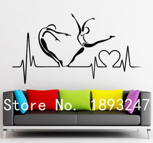 Free Shipping Creative Pulse Heart Health Lifestyle Hospital Clinic Removable  Vinyl Decal Wall Sticker Home Room Decoration