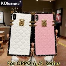 KoisAcase Plaid rombic lambskin leather phonecase para OPPO A39 A57 A73 A75 A79 A83 A3 A5 F7 F9 cubierta suave femenina cuadrada de moda
