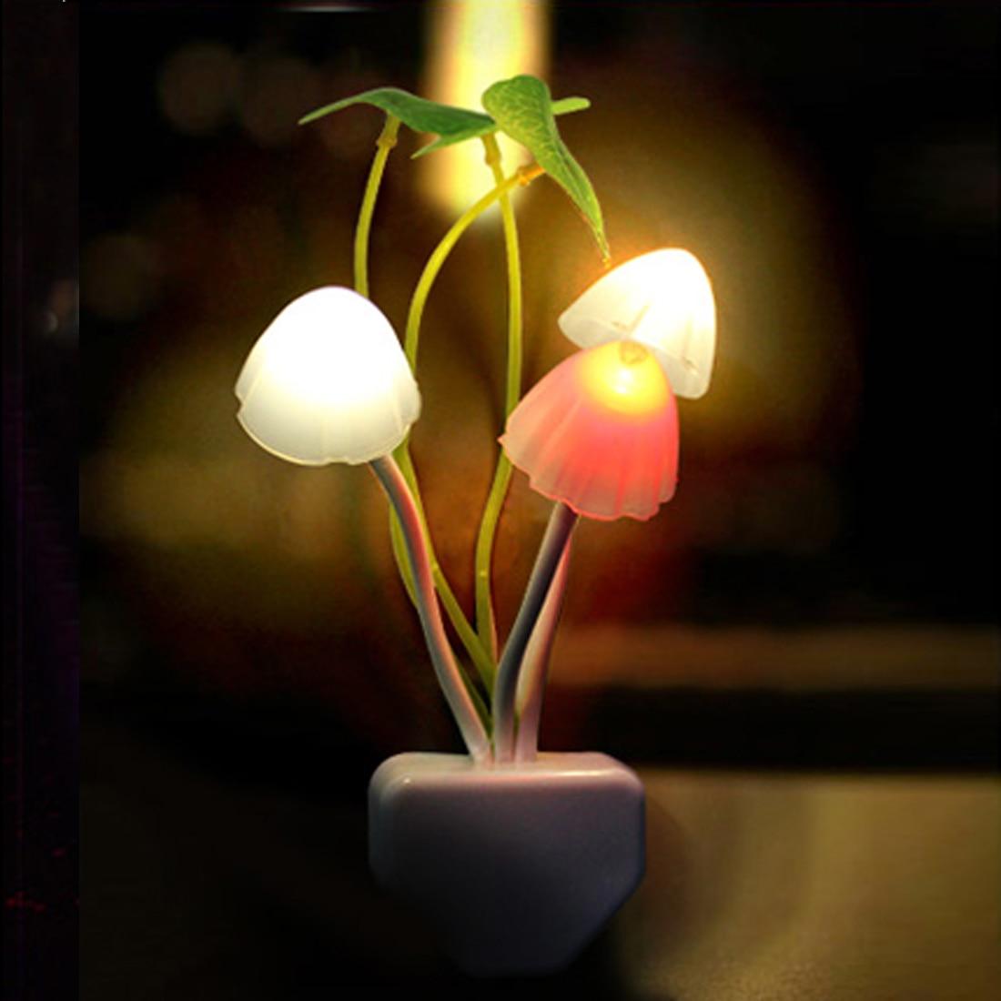 Children Bedroom Decoration  220V 3 LED Mushroom Fungus Night Light EU & US Plug Light Sensor Colorful Lamp Led Night Lights