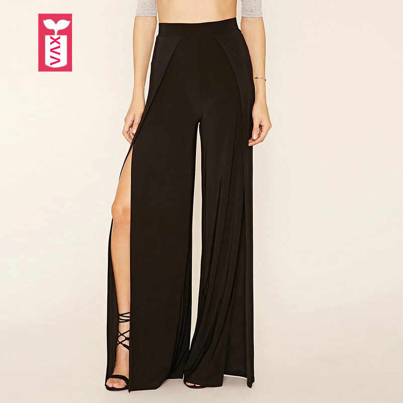 Drop Ship Elastic Wais Novelty 2018 Womens Loose Before Slit Open High Waist Pants Fashion Black Sweatpants Trousers Summer