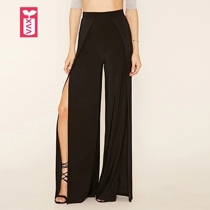 Drop Ship Elastic Wais Novelty 2018 Womens Loose Before Slit Open High Waist Pants Fashion Black Sweatpants Trousers Summer