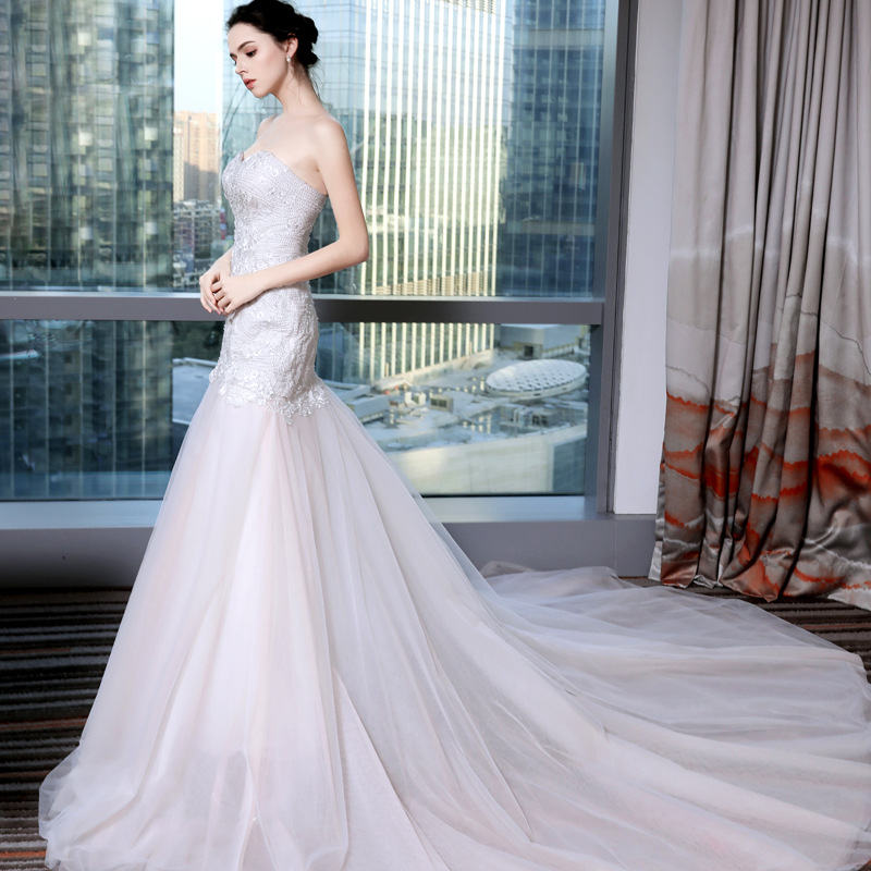Bridal Wedding Gown Real Photos Ivory Lace Cheap Mermaid
