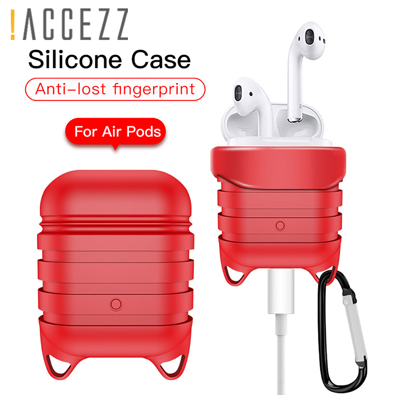 !ACCEZZ Silicone Earphone Case For AirPod Protective Bluetooth Wireless Headset Cover Accessory Apple Airpods Headphone Box