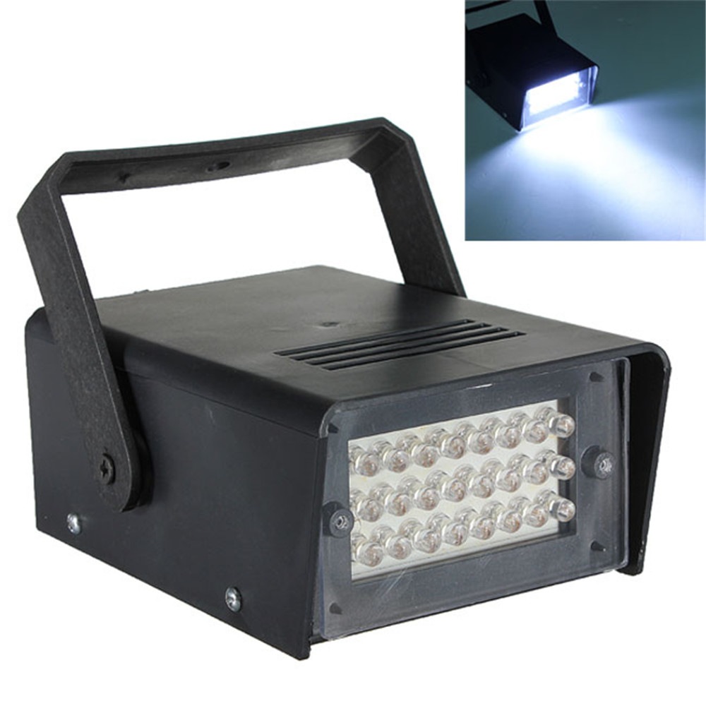 24 LED Strobe White Lights DJ Disco Operated Party Stage Lighting Effect for Disco Lighting Laser Projector Lighting Party Show rg mini 3 lens 24 patterns led laser projector stage lighting effect 3w blue for dj disco party club laser