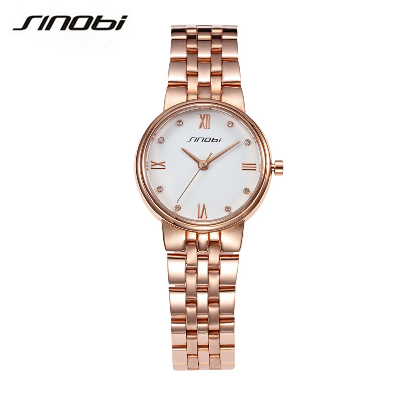 SINOBI Brand Women Watch Ladies Watches Stylish Quartz Watch Full Stainless Steel Dress Wristwatch Relogio Feminino