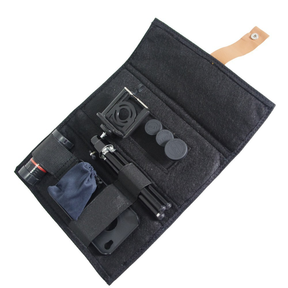 For iphone 4 4s lens kit and wallet , wide angle fisheye 2x telephone lens 8x zoom lens tripod and case 2cl-24 (2)