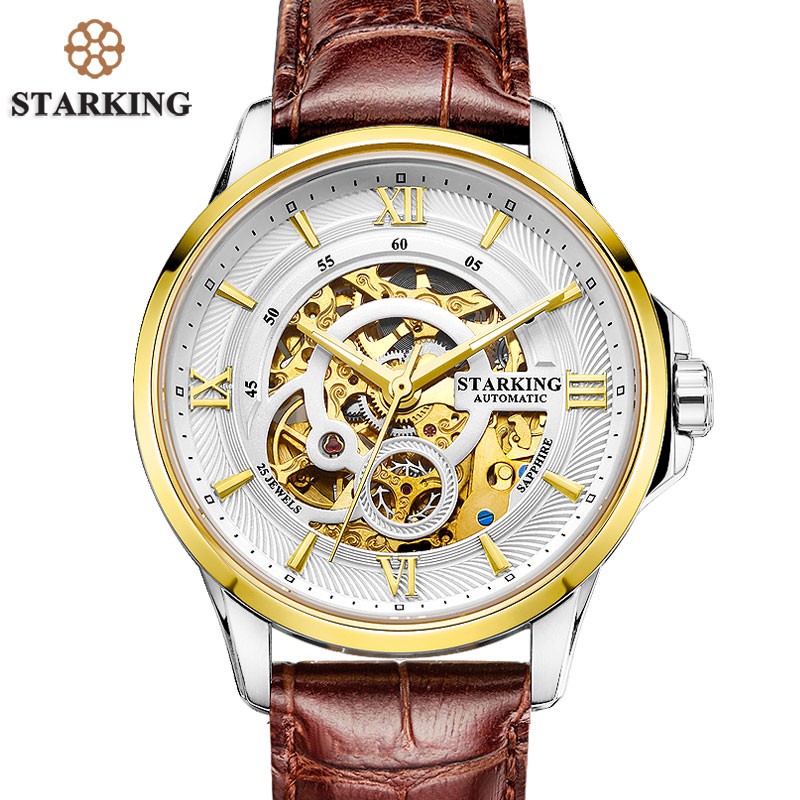 STARKING Men's Watches Mechanical 25 Jewels Genuine Leather Strap Watch Stainless Steel Fully Automatic Waterproof Watch AM0182 стоимость
