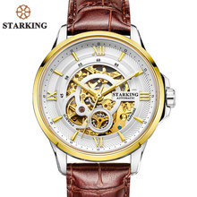 STARKING Men's Watches Mechanical 25 Jewels Genuine Leather Strap Watch Stainless Steel Fully Automatic Waterproof Watch AM0182