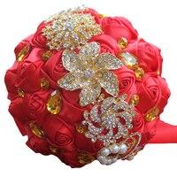 ゴールデンブローチブーケレッドローズ人工花花嫁ホールディングウェディングブーケゴールドクリスタルリボン結婚花W227-2