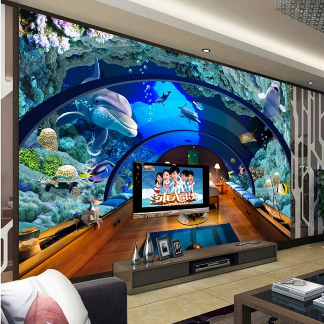 Study Room With Aquarium: Beibehang Wallpaper Any Size 3 D Hd Wallpaper Photo