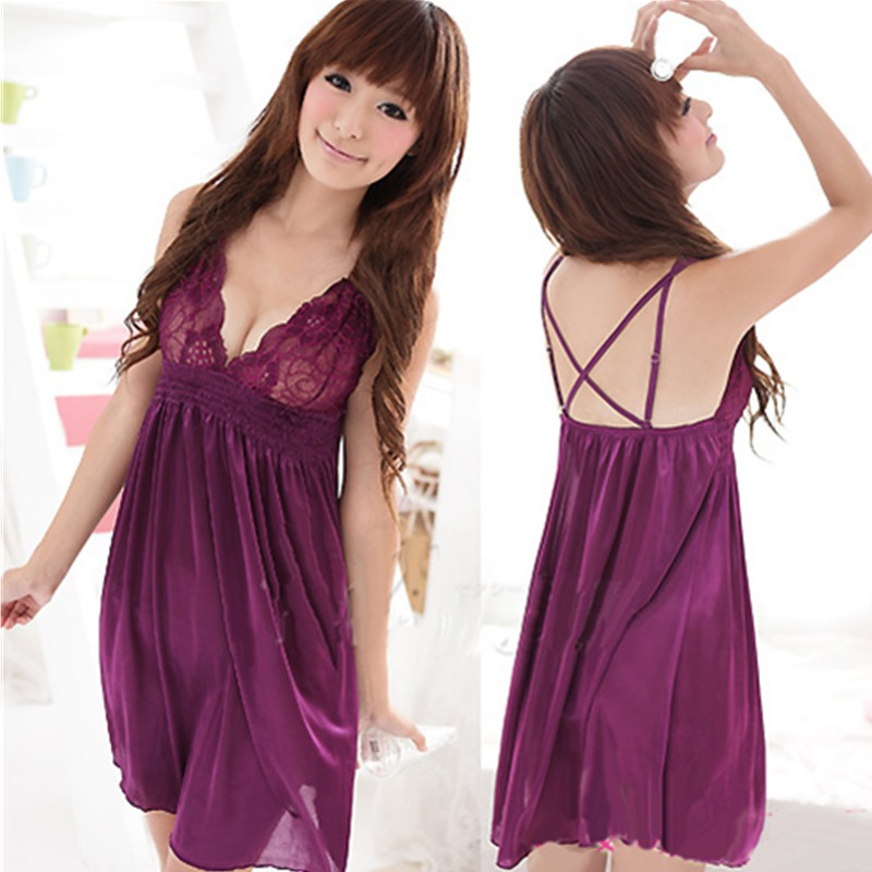 Sexy   Nightgowns     Sleepshirts   Sleepwear Women Night Dress Lace Sexy Backless Women Summer Nightwear