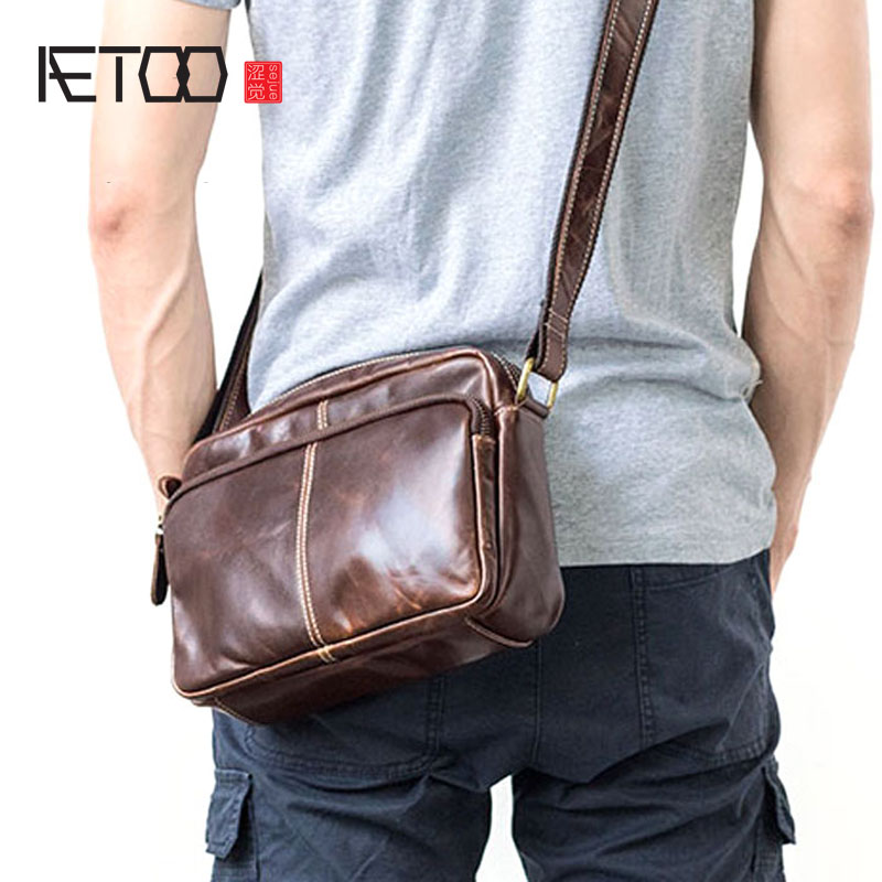 AETOO 2018 new men's shoulder Messenger bag leather casual soft leather cross section retro business bag waterproof business messenger bag cross section preppy style flap bag vertical section contracted joker men crossbody bag 0182
