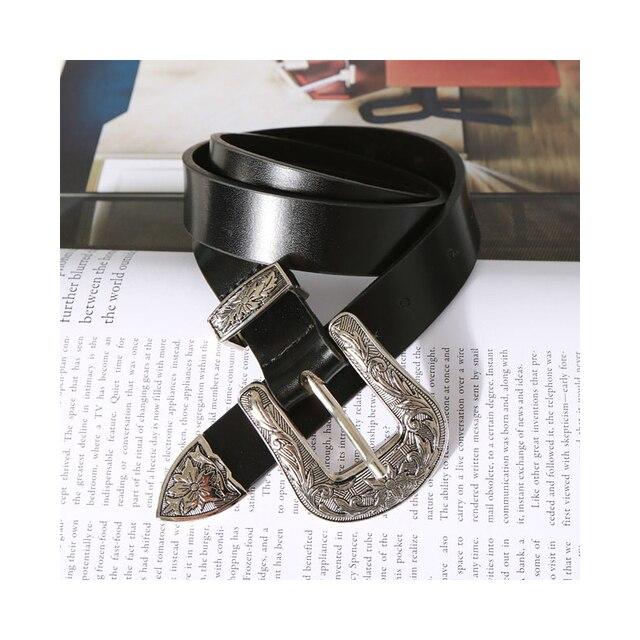 327c08cc734a Rétro Argent Boucle lady ceintures noir femmes jeans ceinture  tout-allumette femme bracelet dame de