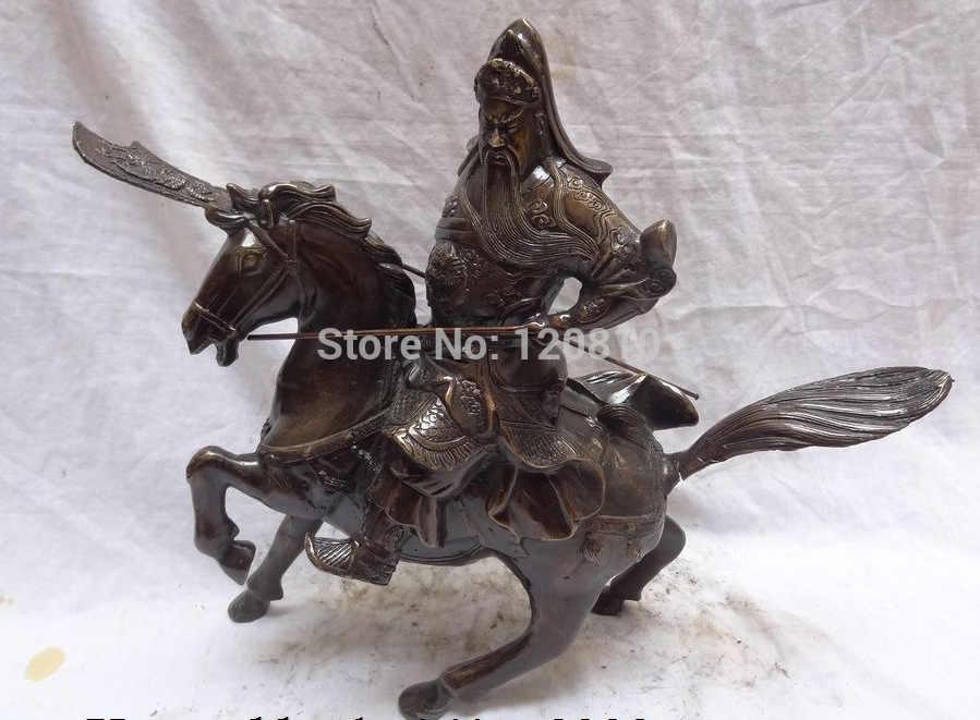 """Scy 16 """"البرونزية الصينية التنين رئيس المحارب guangong guanyu الله ركوب الخيل تمثال"""
