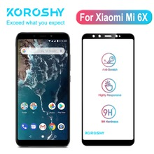 KOROSHY Tempered Glass for Xiaomi Mi 6X Xiomi Mi6X Screen Protector Full Cover 9H Hardness Real 2.5D 0.3mm Toughened Film
