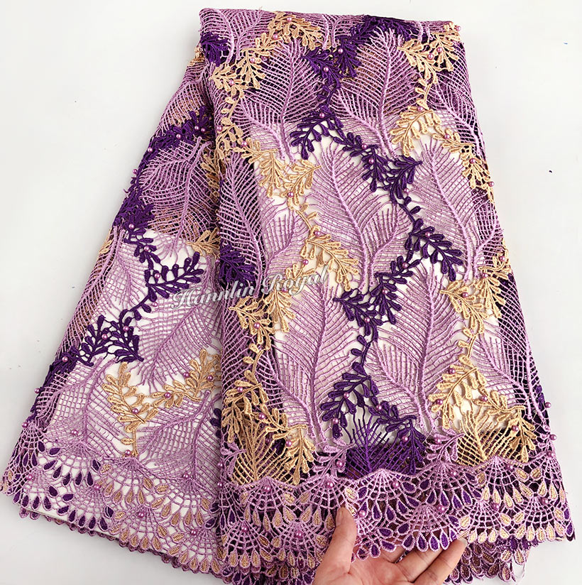 Soft 5 Lilac Gold Beaded Guipure lace fabric 2018 high quality African cord lace very nice Nigerian lace fabricsSoft 5 Lilac Gold Beaded Guipure lace fabric 2018 high quality African cord lace very nice Nigerian lace fabrics