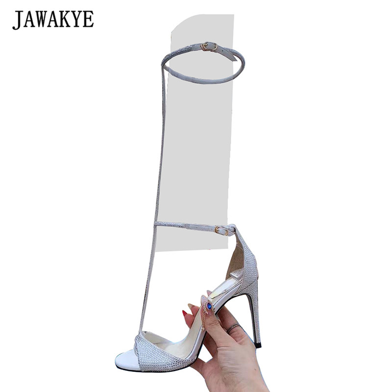 Summer bling bling crystal sandals women knee T tied woman shoes sexy 10cm high heel gladiator