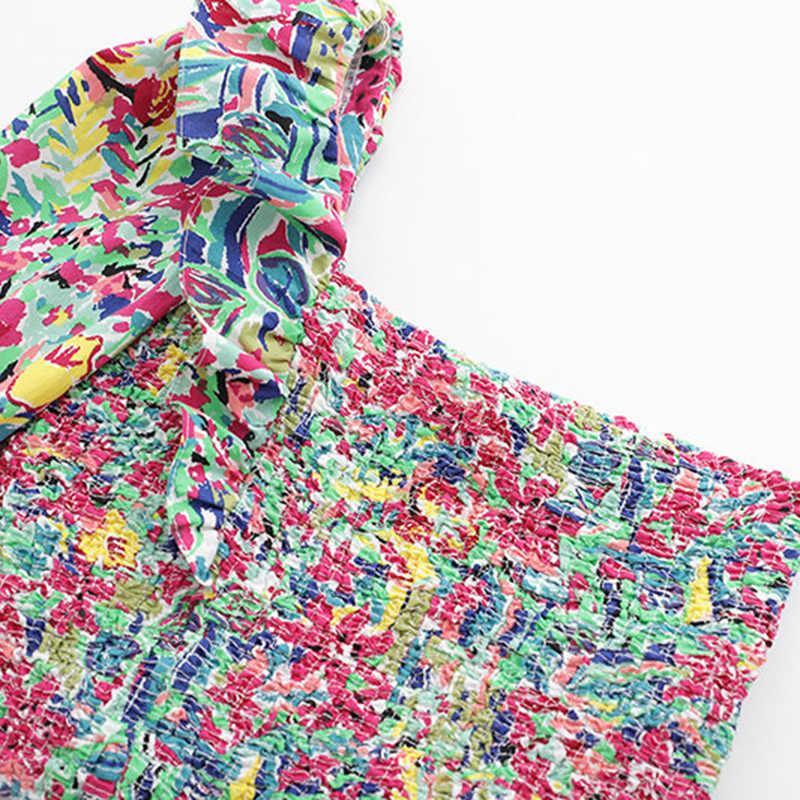 Vintage sexy cor floral imprimir estilo curto blusas femininas 2019 moda um ombro babados camisas casuais blusas mujer