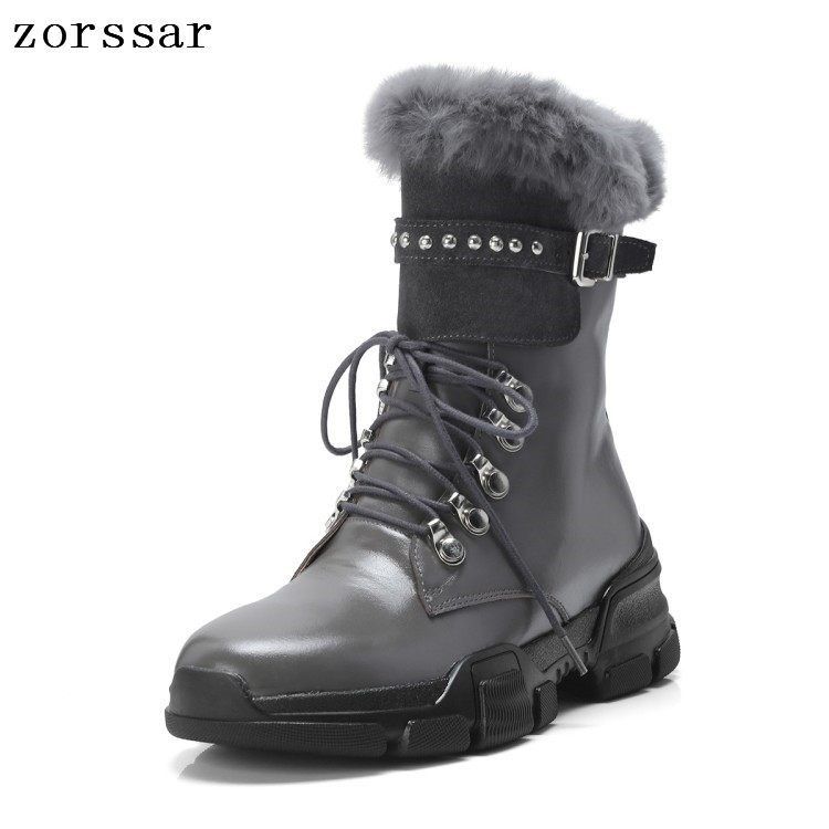 {Zorssar} 2018 new winter women shoes fur Soft leather platform women boots flat Lace up ankle boots Female Motorcycle boots