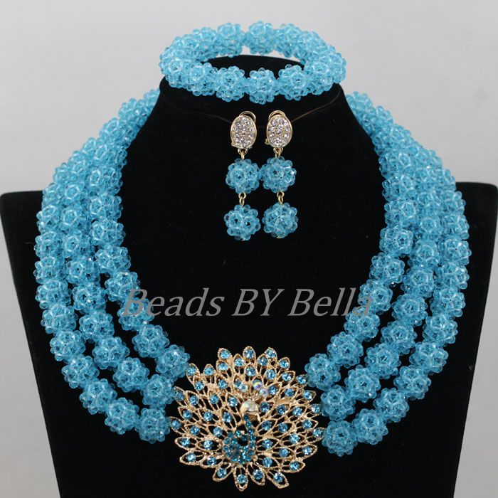 Sky Blue Balls Necklace Women Costume Nigerian Wedding African Beads Jewelry Set Crystal Beads Jewelry Sets Free Shipping ABF873 цена