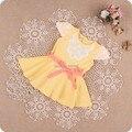 Perlas florales de los bebés dress princess dress 2017 del verano del bebé infantil vestidos de ropa de bebé con fajas 3 color