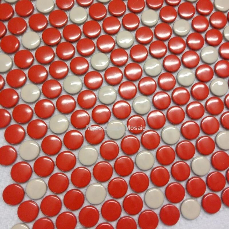 penny round glossy red white ceramic mosaic tiles modern bathroom shower kitchen wall tile floor tile wallpaper home decor
