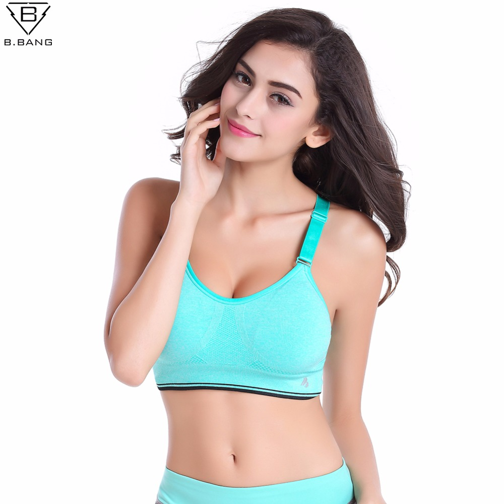 B.BANG Women Sports Bra Professional LEVEL-4 Bra for Fitness Running Gym Shockproof Bra Push Up Seamless Tops Adjustable Straps seamless wire free adjustable bra